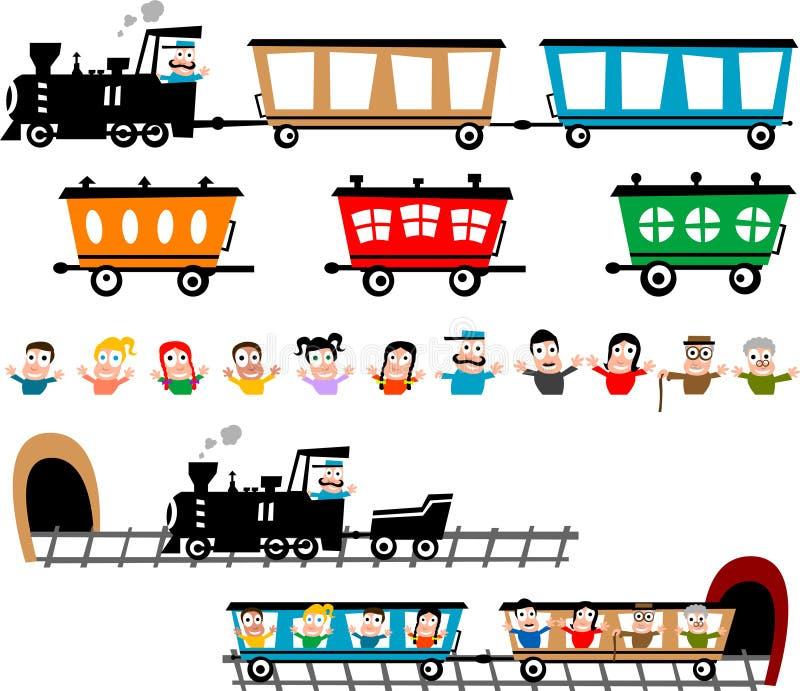 Conjunto divertido del tren ilustración del vector