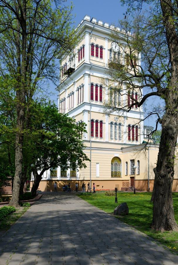 Conjunto do palácio e do parque de Gomel, torre Rumyantsev-Paskevich Palac foto de stock royalty free