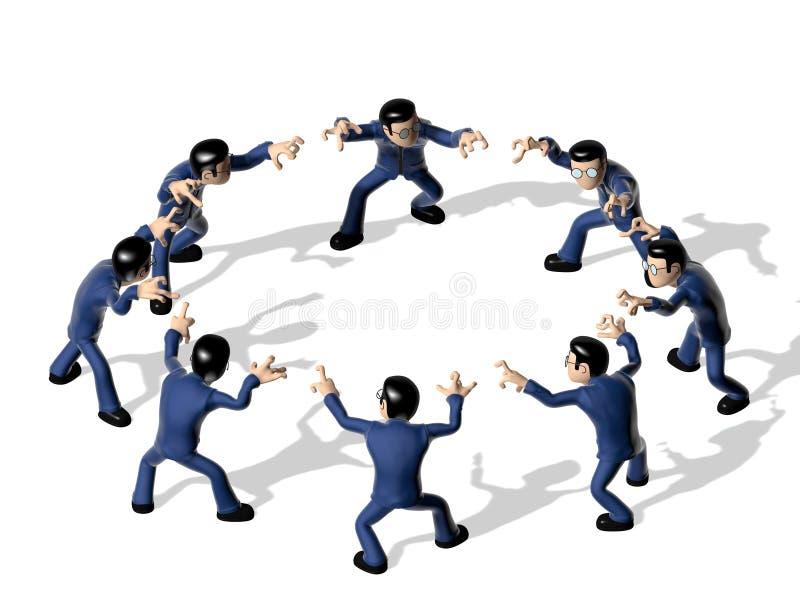 Conjunto do personagem de banda desenhada 3D irritado ilustração stock
