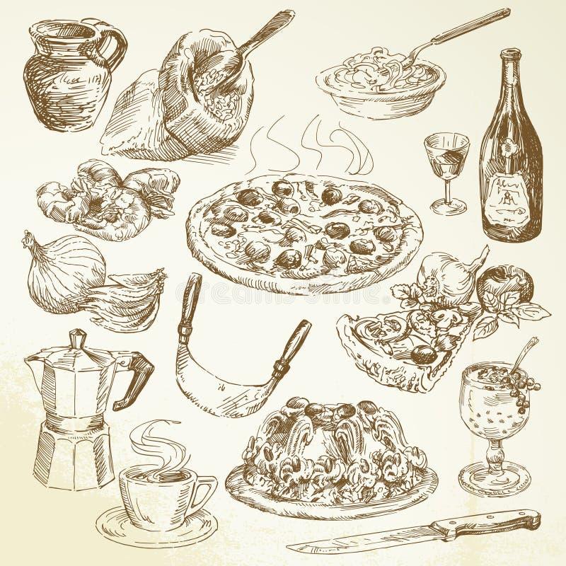 Conjunto drenado mano de la pizza stock de ilustración