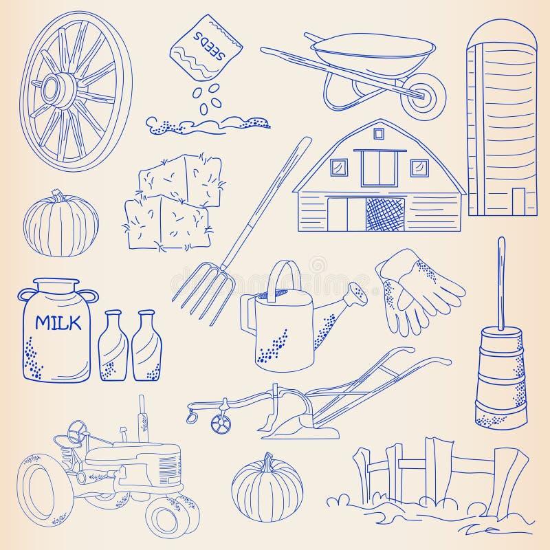 Conjunto drenado mano del icono de la granja stock de ilustración