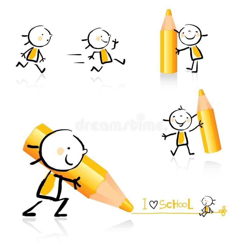 Conjunto educativo del icono libre illustration