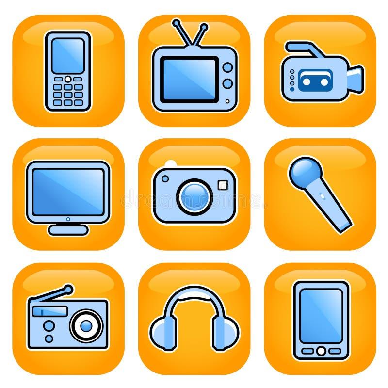 Conjunto electrónico del icono stock de ilustración