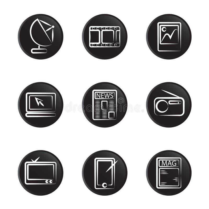 Conjunto electrónico del icono del objeto stock de ilustración
