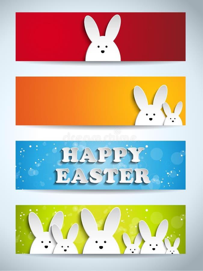 Conjunto feliz del conejito del conejo de Pascua de banderas ilustración del vector