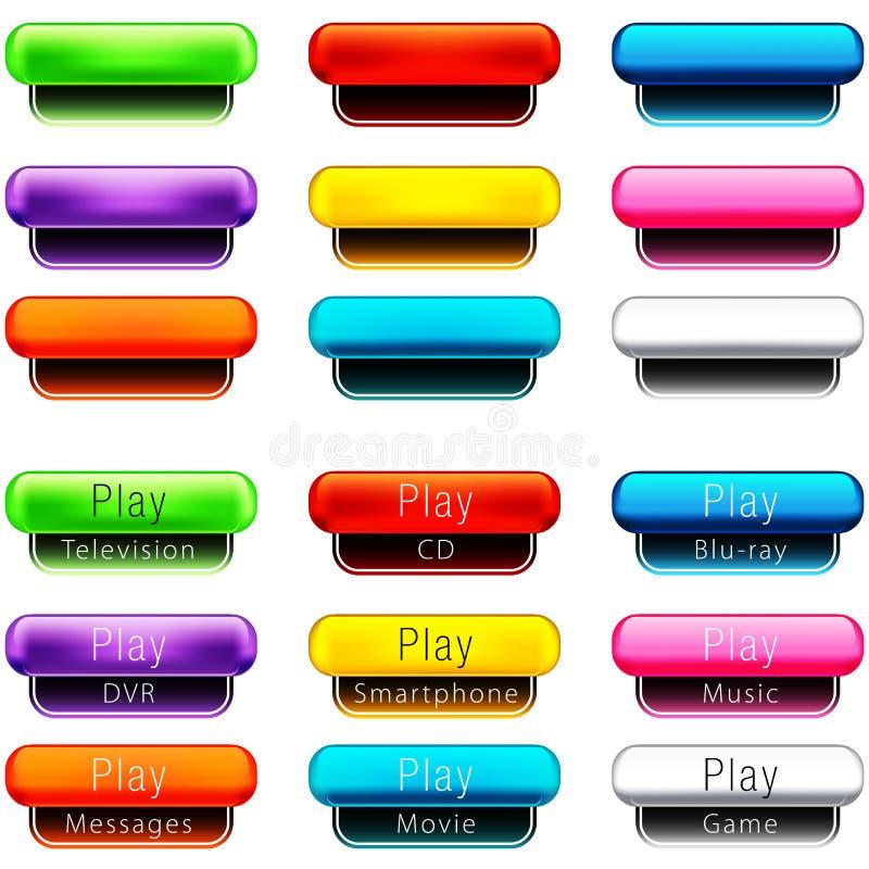 Conjunto formado píldora del botón del juego ilustración del vector