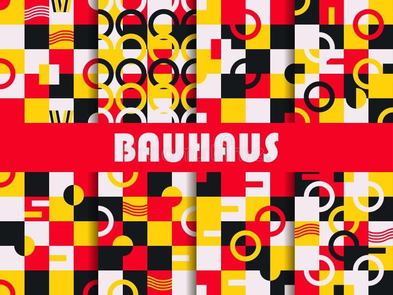 Conjunto geométrico inconsútil del modelo Diseño del Bauhaus Estilo de Memphis del fondo de los años 80 Vector ilustración del vector