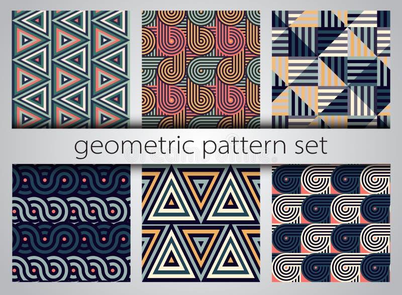 Conjunto geométrico inconsútil del modelo Impresiones simples geométricas Vector que repite texturas con las líneas y las formas ilustración del vector
