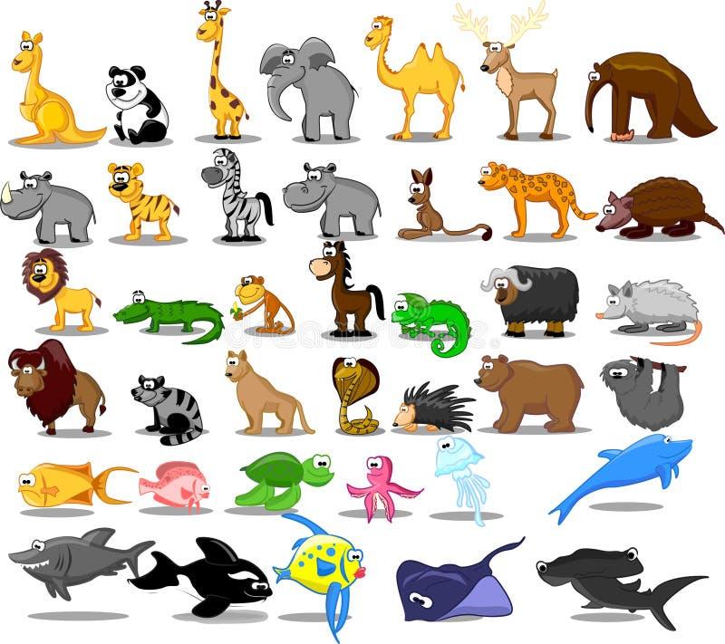Conjunto grande adicional de animales incluyendo el león, kangaro ilustración del vector