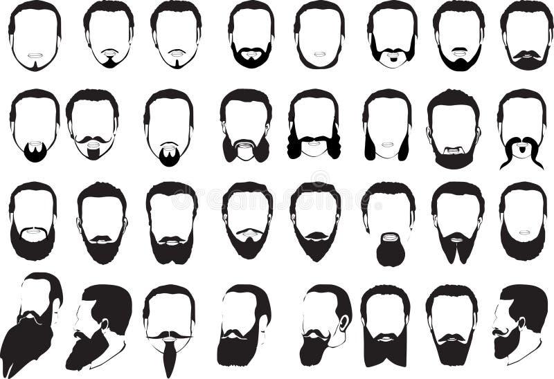 Conjunto grande de barbas de los hombres ilustración del vector