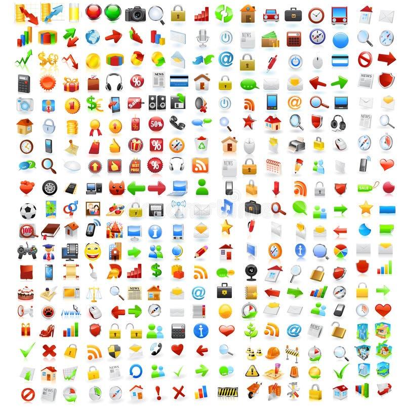 Conjunto grande de iconos del ordenador ilustración del vector