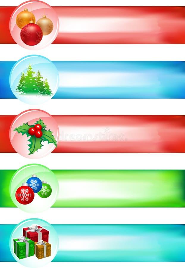 Conjunto grande de la bandera de la Navidad ilustración del vector