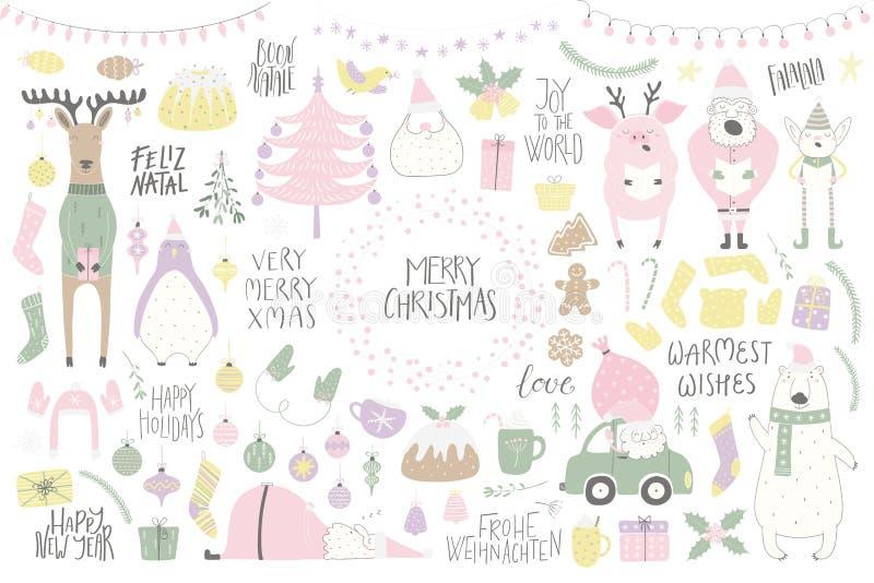 Conjunto grande de la Navidad stock de ilustración