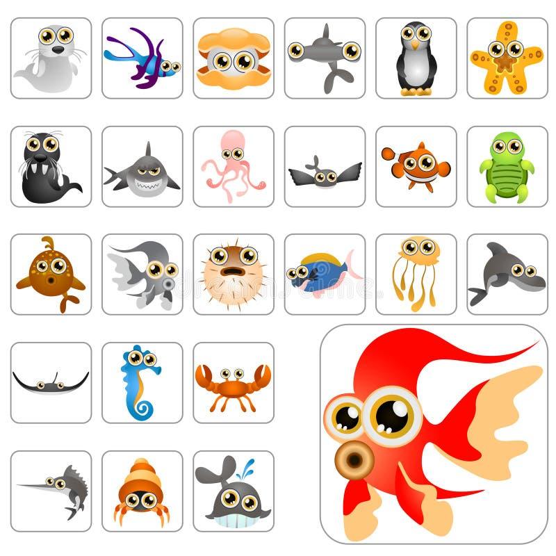 Conjunto grande de los animales de la historieta stock de ilustración