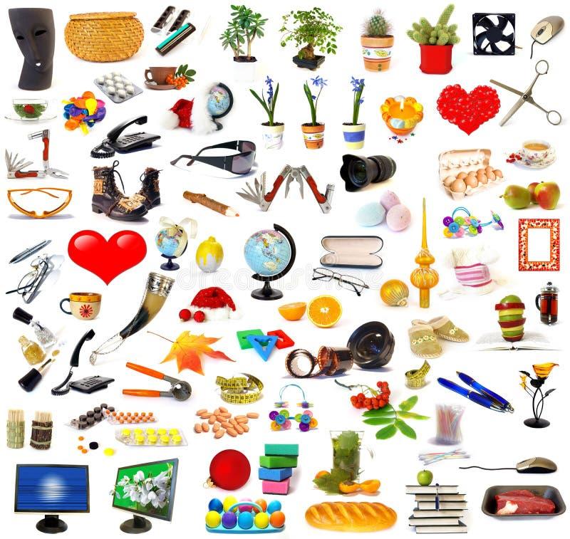 Conjunto grande de objetos en blanco fotos de archivo