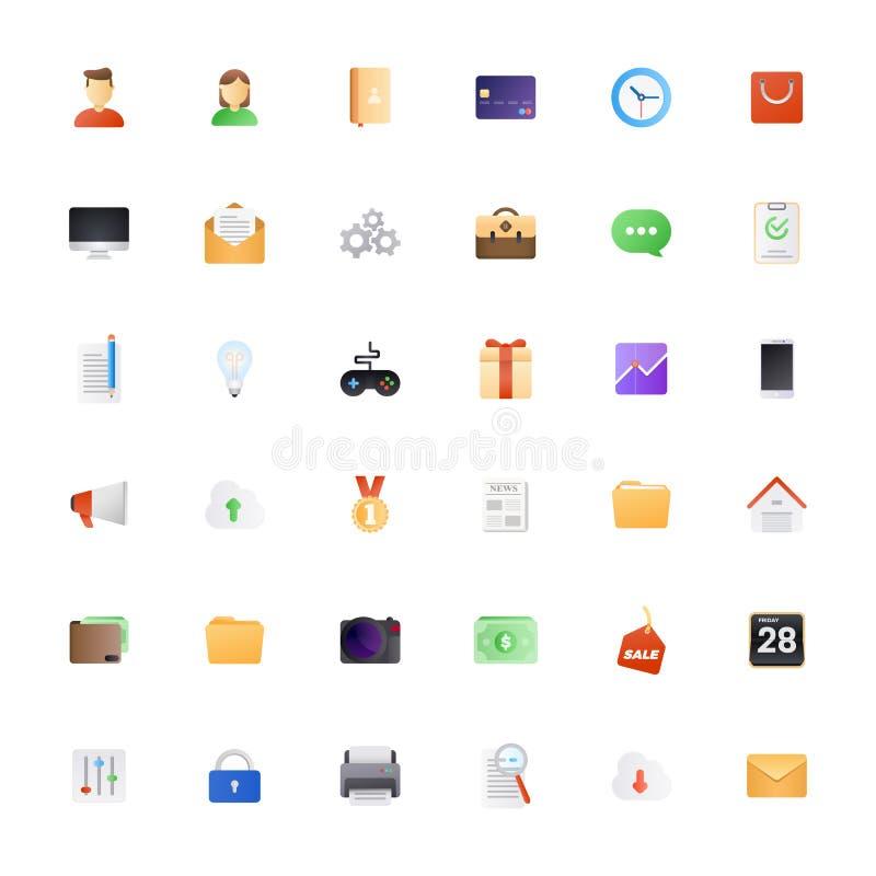 Conjunto grande del icono Los iconos semi planos coloreados embalan para el web impresionante y del estilo o el diseño móvil del  stock de ilustración