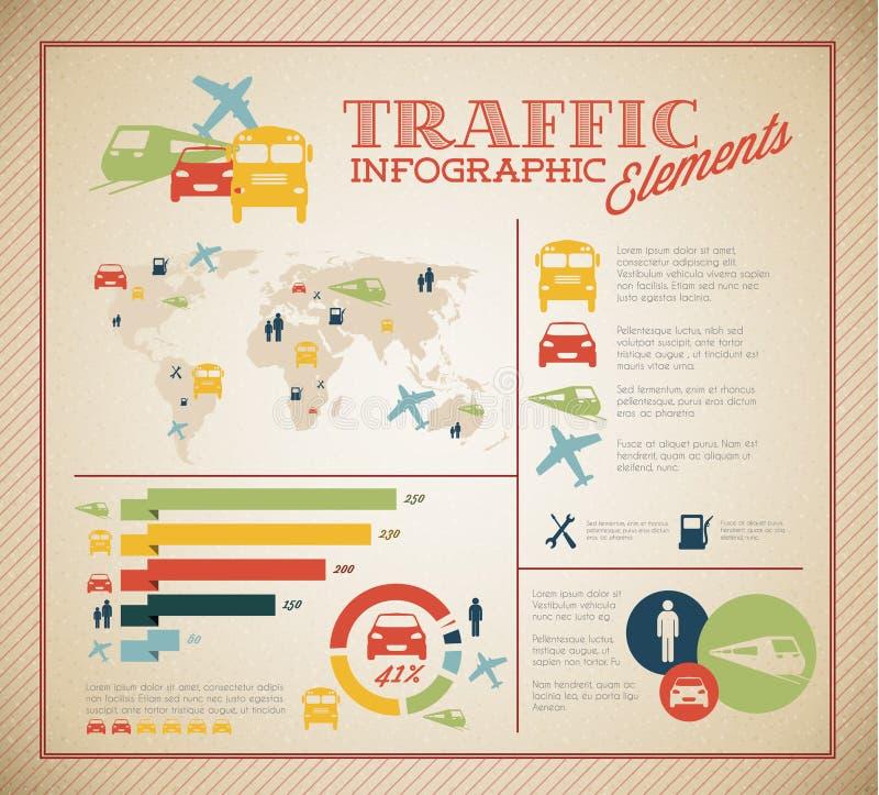 Conjunto grande del vector de los elementos de Infographic del tráfico libre illustration