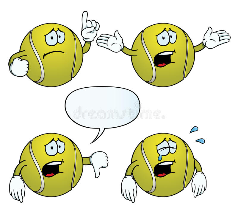 Conjunto gritador de la pelota de tenis ilustración del vector