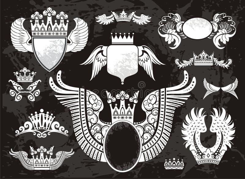 Conjunto heráldico con las alas stock de ilustración