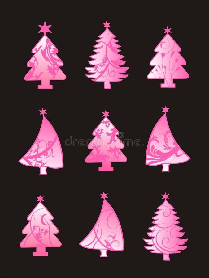 Conjunto hermoso del árbol de navidad stock de ilustración