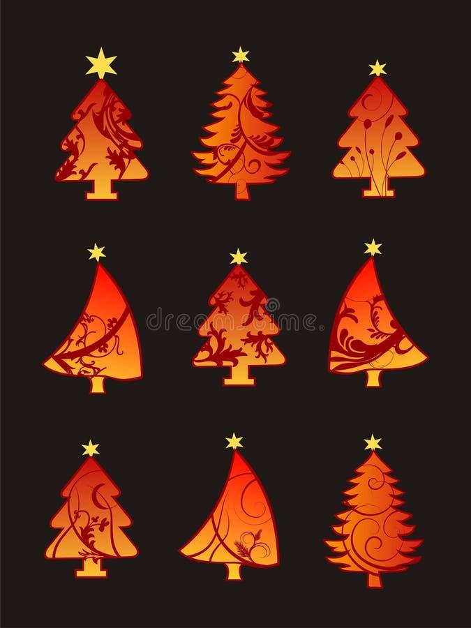 Conjunto hermoso del árbol de navidad ilustración del vector