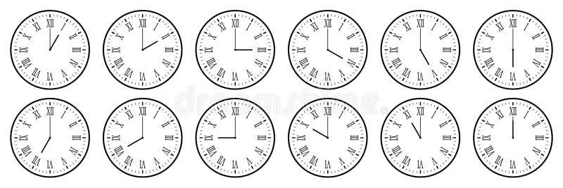 conjunto horizontal de icono de reloj analógico con un número romano notificando cada hora aislado en blanco,ilustración vectoria libre illustration