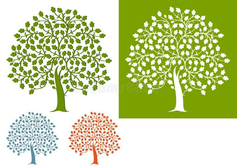 Conjunto ilustrado de árboles de roble ilustración del vector