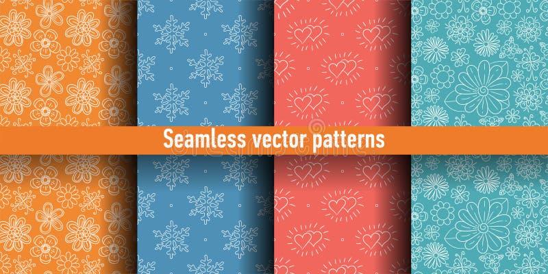 Conjunto inconsútil del modelo Fondo colorido del vector Flores, copos de nieve y corazones del color ilustración del vector