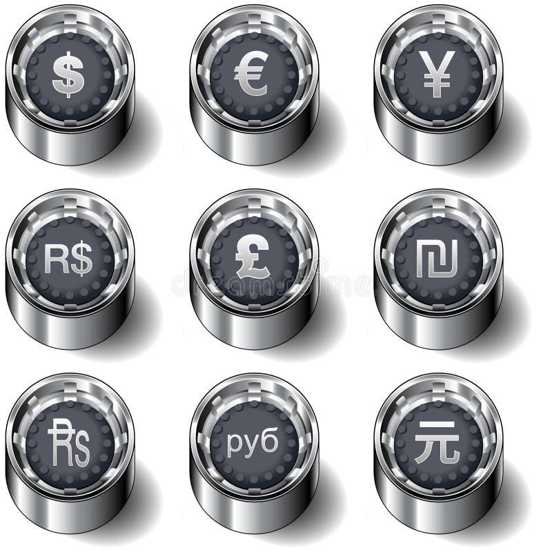 Conjunto internacional del botón del vector del dinero en circulación libre illustration