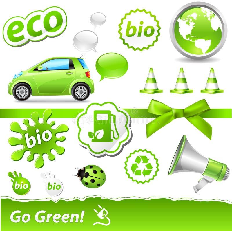 conjunto Ir-verde stock de ilustración