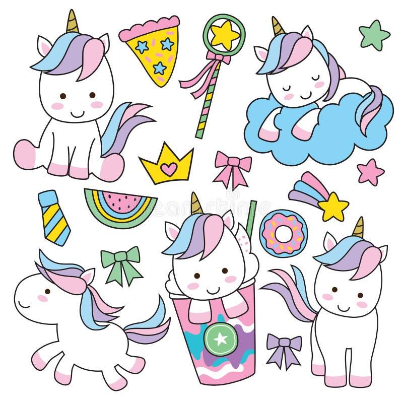 Conjunto lindo del unicornio ilustración del vector