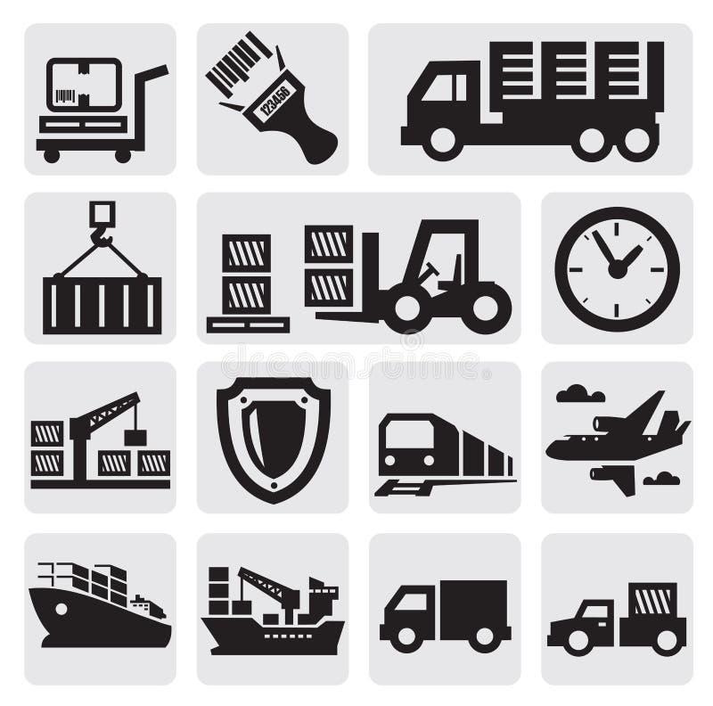 Conjunto logístico y del envío del icono ilustración del vector