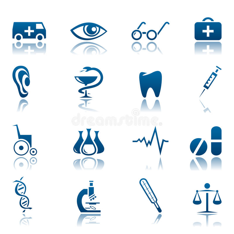 Conjunto médico del icono libre illustration