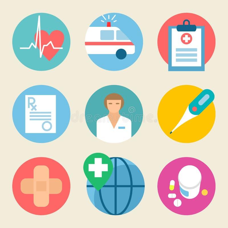 Conjunto médico del icono Atención sanitaria, médico de hospital del servicio de la medicina libre illustration