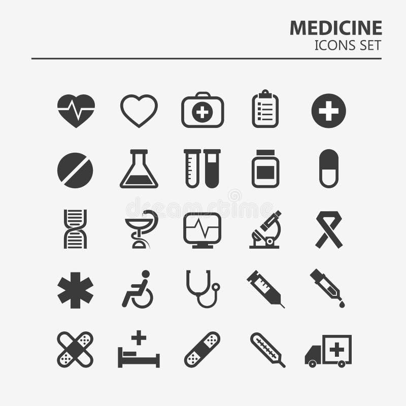 Conjunto médico del icono 25 muestras del vector del hospital de la silueta Diseño de la medicina Iconos del infographics de la a stock de ilustración
