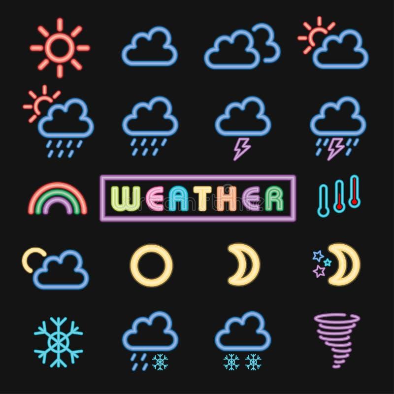Conjunto mínimo de ícone de tempo neon fotos de stock