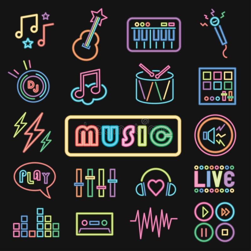 Conjunto mínimo de ícones de música neon fotos de stock