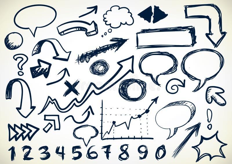 Conjunto a mano de Doodles ilustración del vector