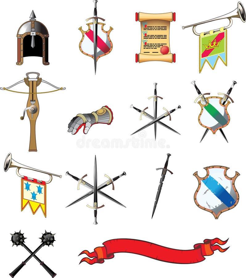 Conjunto medieval del icono del arma stock de ilustración