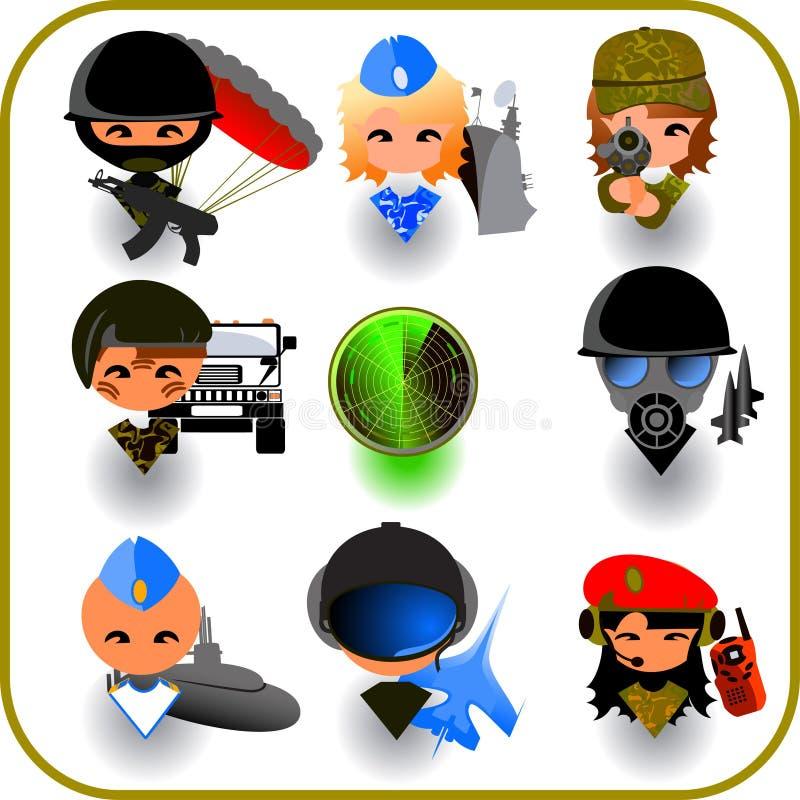 Conjunto militar del icono stock de ilustración