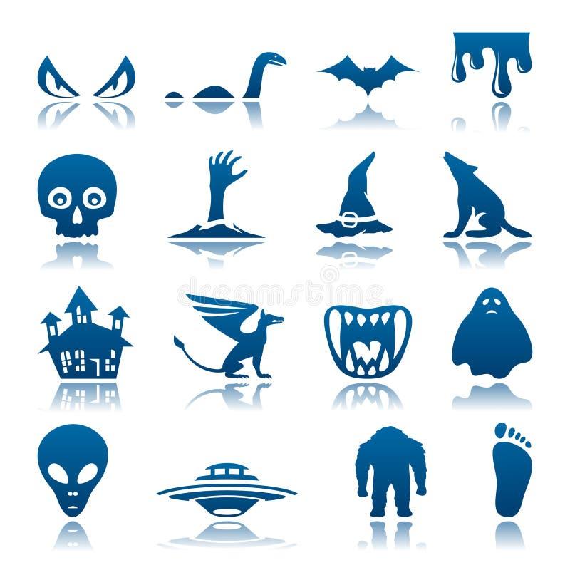 Conjunto misterioso y del horror del icono stock de ilustración