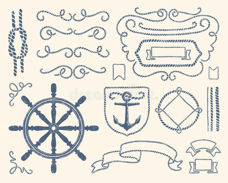 Conjunto náutico de la decoración stock de ilustración