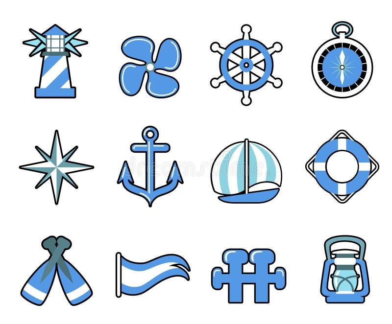 Conjunto náutico del icono libre illustration