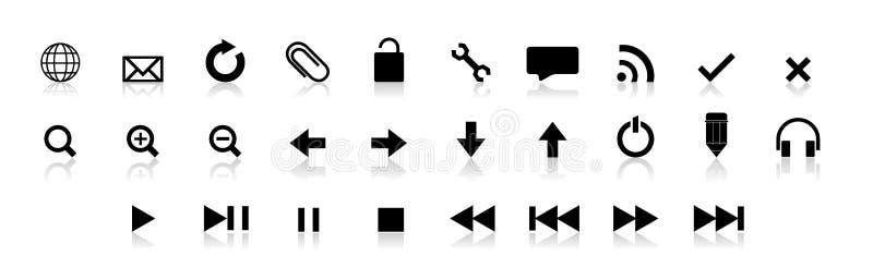 Conjunto negro del botón del Web stock de ilustración