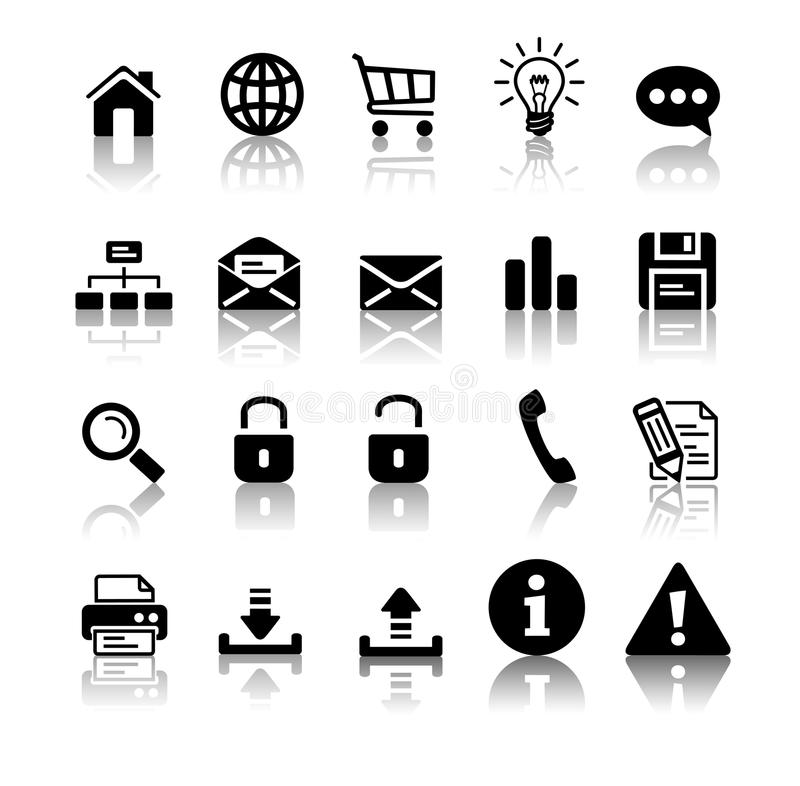 Conjunto negro del icono ilustración del vector
