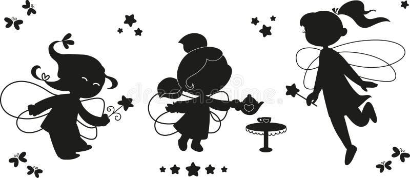 Conjunto negro del icono de hadas stock de ilustración