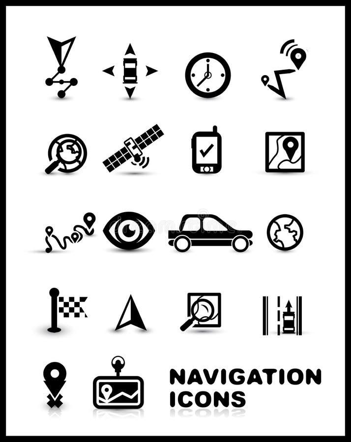 Conjunto negro del icono de la navegación ilustración del vector