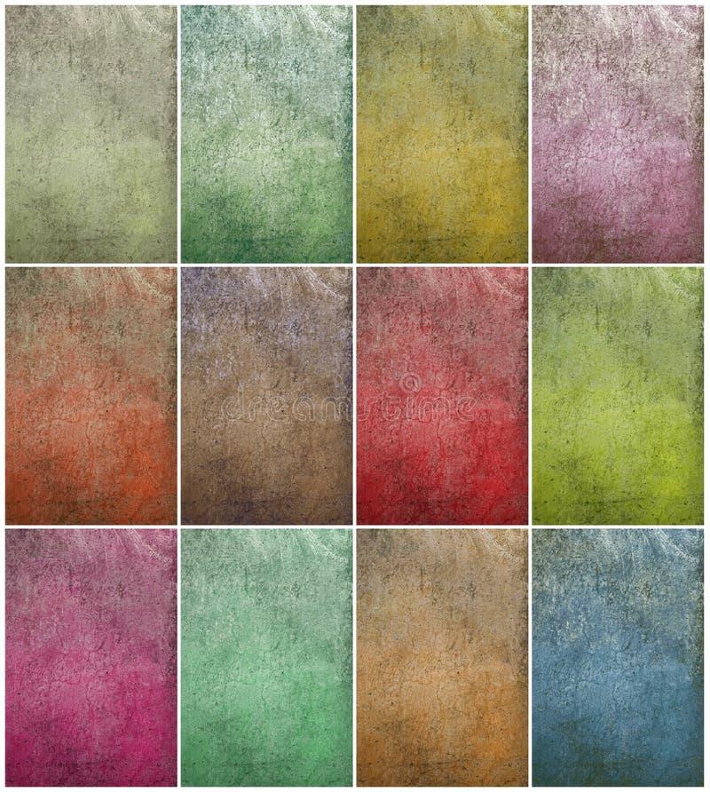 Conjunto nublado colorido de la pared del grunge ilustración del vector