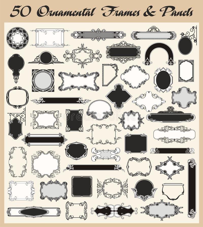 Conjunto ornamental del vector de los marcos y de los paneles de la vendimia stock de ilustración