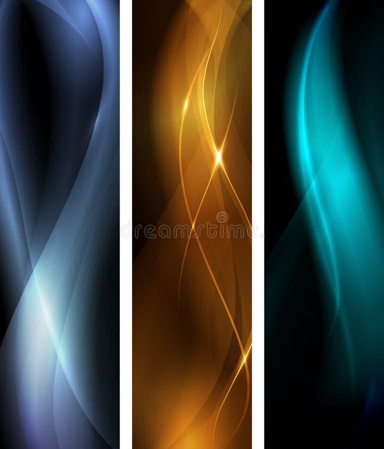 Conjunto oscuro abstracto de la bandera de la onda ilustración del vector